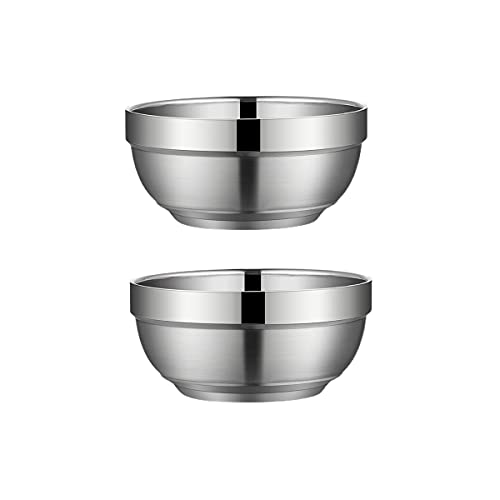 DSFHKUYB 2 Pieces Stainless Steel Mixing Bowl – Mixing Bowls – Stainless Steel Bowls – Metal Bowl – Baking Bowls,18cm