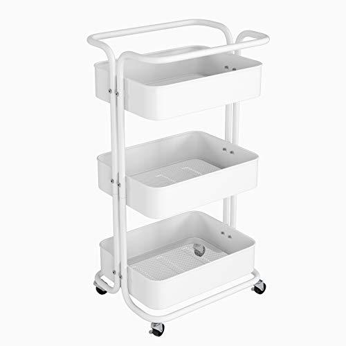 Homfa Küchenwagen Servierwagen mit Rollen Allzweckwagen für Küche Bad Büro 3 Etagen mit 3 Körbe weiß