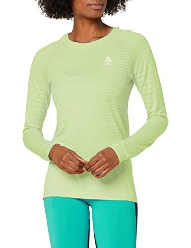 Odlo Damen Shirt T-Shirt L/s Crew Neck Seamless Element, Tomatillo Melange, XS, 312631