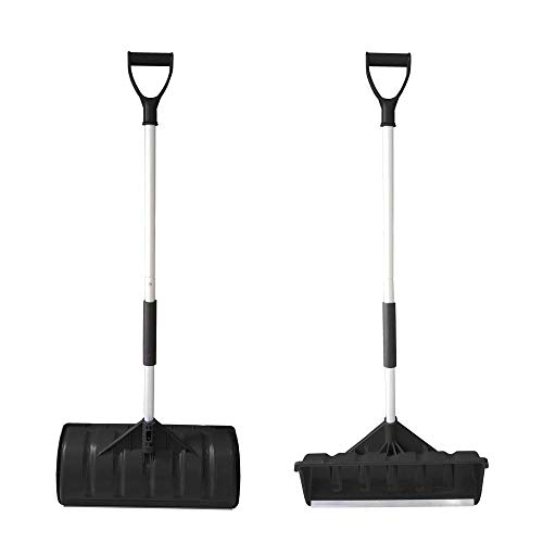 MTB Lightweight Snow Shovel/Pusher Pack of 2 Sets Blackwith Aluminum Handle and 22 inch x 10 inch Poly Blade
