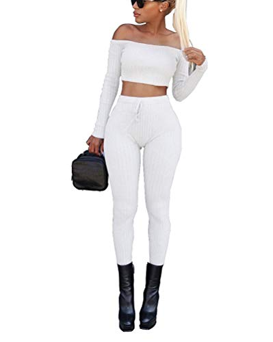 Tomwell Damen 2 Stücke Set Outfit Sport Yoga Fitness Bodycon Slim Fit Jogginganzug Sportswear Casual Schulterfrei Langarmhemd Jumpsuit Party Nachtclub Crop Top + Leggings Weiß 34
