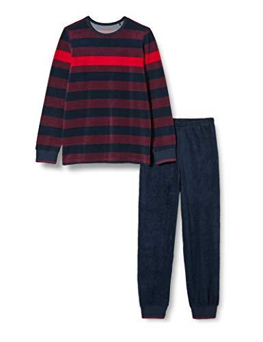 Schiesser Jungen Frottee Schlafanzug Lang Pyjamaset, Bordeaux, 140