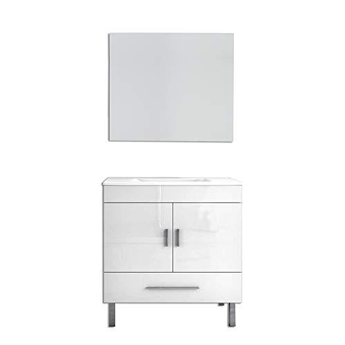 OLIMPO Conjunto de Mueble de baño Corfú con Lavabo y Espejo Blanco...