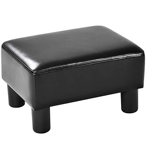 DREAMADE Fußhocker Sitzhocker, Polsterhocker Hocker Bank Sitzbank, Sitzhocker aus PU, 40 x 30 x 24 cm (Schwarz)