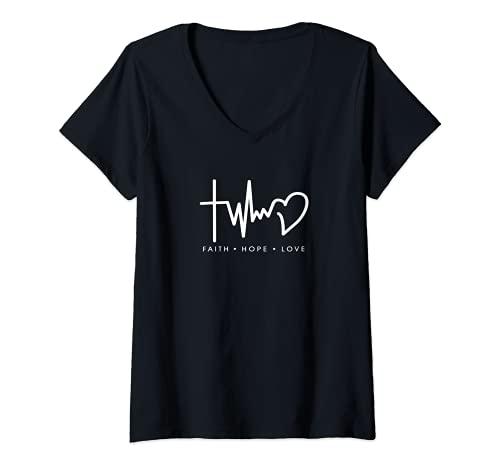 Damen Glaube Hoffnung Liebe Christliches Symbol Jesus T-Shirt mit V-Ausschnitt