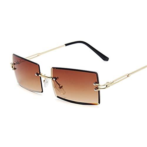 YSJJLRV Lentes de Sol Moda Rosa púrpura Cuadrado Gafas de Sol Mujeres diseñador de la Marca Retro Gafas de Sol Hembra rectángulo Lente Vintage pequeños oculos de Sol (Lenses Color : Double Brown)