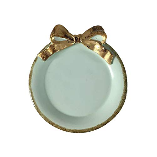 Bestonzon Plateau rond pour servir des desserts, des fruits, des bijoux, des assiettes de rangement Bleu