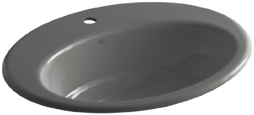 KOHLER K-2907-1-58 Thoreau Self-Rimming Bathroom Sink with Single-Hole Faucet Drilling, Thunder Grey