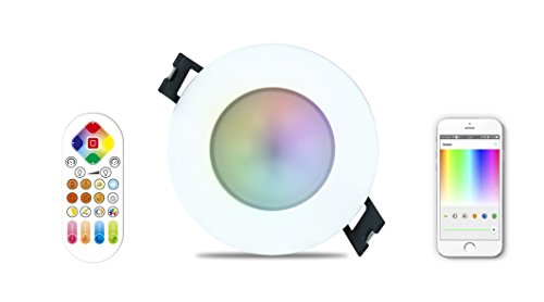 iHomma LED Smart Spotlight LED IP65, Control Remoto, Control de APP por Bluetooth, Regulable Cool Blanco Cálido Multicolor RGB, Foco Empotrable Bicolor para Sala de Estar Dormitorio, 6W 350LM