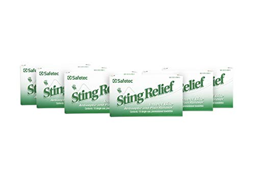 Safetec Sting Relief Wipes 10ct Box (6 Pack of 10ct Wipes - 60 Sting Wipes) for Insect Bites & Stings