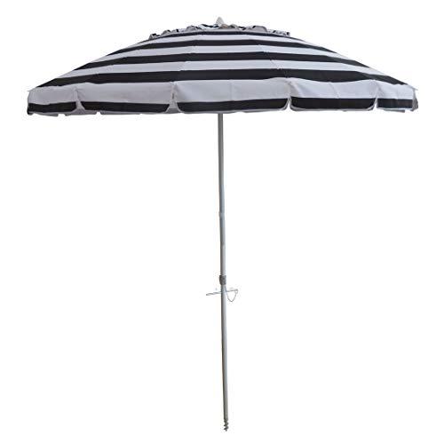 8' Portable Beach Umbrella with Sand Anchor, Tilt Pole, Carry Bag, Air Vent UPF 50+ Black White Stripe (8 FT with Tilt, Stripe (Black White))