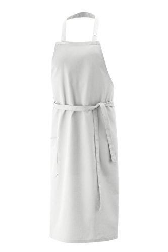 Latzschürze, Schürze 100x80 cm LxB in Weiss aus 100% Baumwolle und per Nackenband 3x verstellbar