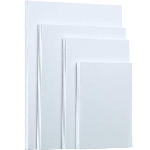 12 Piezas de Tablero de Panel de Lona, Lienzo de Tablero de Pintura Artistica Blanco en Blanco para Pintura al Óleo y Acrílica, 5 x 7/6 x 9/8 x 10/9 x 12 Pulgadas