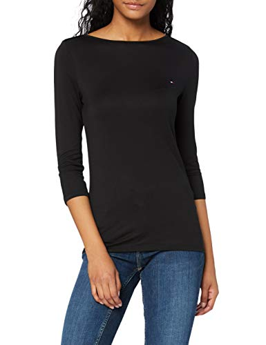 Tommy Hilfiger Boat Neck Tee 3/4 Camicia, Black, M Donna
