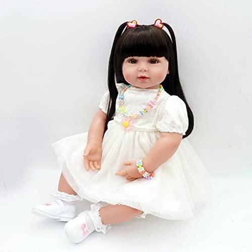 24 Pulgadas Reborn Baby Doll Dolly Doll-Girl en Blanco Vestido de novia-60cm Reborn Niño Muñeca Muñeca Suave táctil Suave Cuerpo Realista Niño Muñeca niños