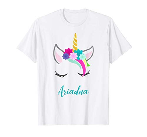 T-Shirt Personalizada Nombre Ariadna Unicornio Camiseta