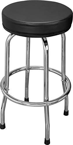Torin ATRP6185B Swivel Bar Stool: Padded Garage/Shop Seat with Chrome Plated Legs, Black