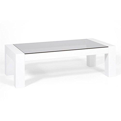 Mobilifiver Tavolino da Salotto, Piano in Vetro temperato, Iacopo, Bianco Lucido, 100 x 50 x 30 cm, Nobilitato/Vetro, Made in Italy, Disponibile in Vari Colori