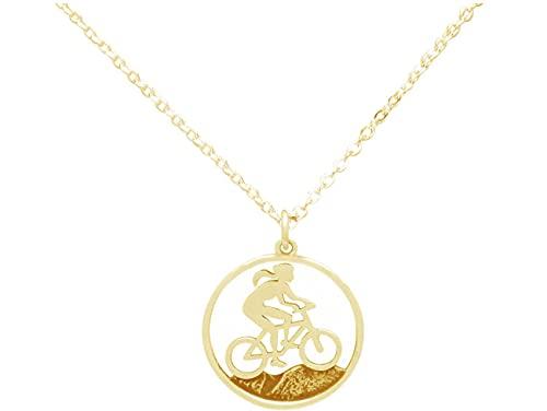 Gemshine Alpin Berg Mountain Bike Trail Fahrrad Klettern Halskette in 925 Silber, hochwertig vergoldet oder rose. Sportschmuck - Made in Madrid, Spain, Metall Farbe:Silber vergoldet