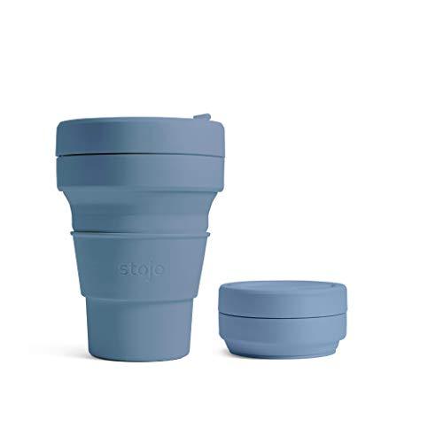 Stojo On The Go Kaffeebecher | Taschengröße | Faltbarer Silikon-Reisebecher - Stahlblau | 355ml | Kein Strohhalm enthalten