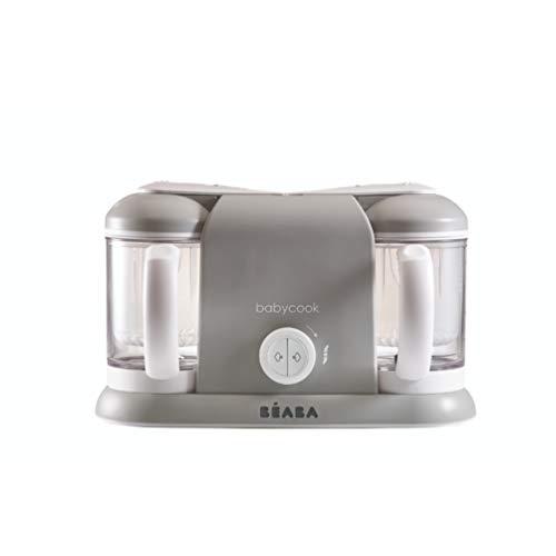 Béaba - Babycook Duo - 4-in-1 Küchenmaschine, Mixer und Herd - weiches Dampfgaren - hausgemachte Babynahrung in 15 Minuten - XXL - 2 x 1100 ml Fassungsvermögen - Made in France - Grau