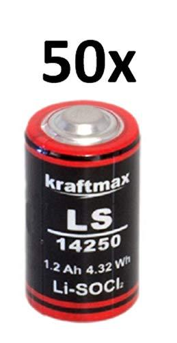 50x Lithium 3,6V Batterie LS 14250-1/2 AA ER14250 Li-SOCl2 LS14250 AKKUman Set (50er)