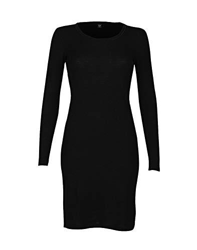 Dilling Langarm Nachthemd für Damen aus 100% Bio-Merinowolle Schwarz 36