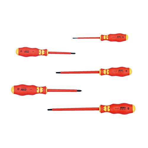 Set met 5 geïsoleerde schroevendraaiers WURTH 061396325 VDE sleuf 2,5 4 6,5 A kruis PH1 PH2 messen gepolijst PH volgens IEC 900 en EN 60900
