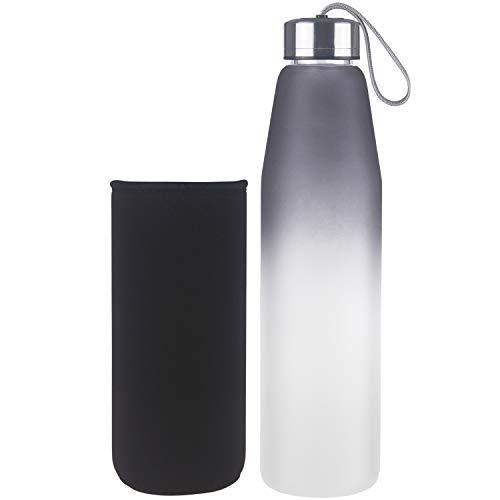 DEARRAY Botella de Agua de Cristal de Borosilicato Deportivo, Botella de Agua de Vidrio con Funda de Neopreno y Elegante Tapa de Acero Inoxidable (1000ml Negro)