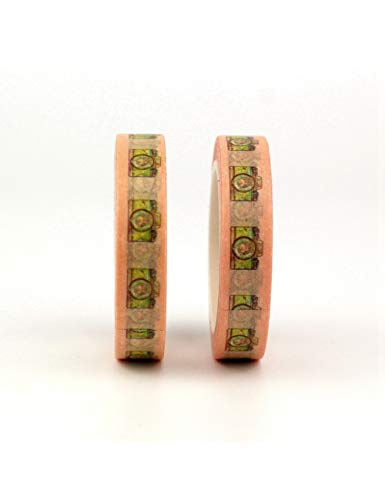 JEMKJ Washi Tape 2 Unids/Lote Kawaii Washi Tapes 10 M Planificador Lindo Cinta Adhesiva Álbum De Fotos DIY Cintas Decorativas Papelería De Oficina, Linda Cámara