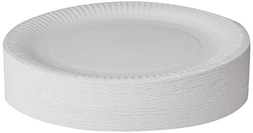 Plato desechable de papel, 23 cm, color blanco, 100 unidades