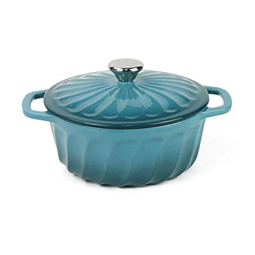 Horno holandés roscado/Cazuela Olla esmaltada Hierro Fundido 2,4 litros Cocotte Redondo 22 cm Tapa (Color: Azul)