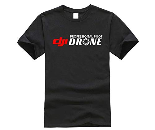dji Professional Pilot Drone - Custom Men's Black T-Shirt Men's Fashion Crew Neck Short Sleeves Cotton Tops Clothing Black 3XL