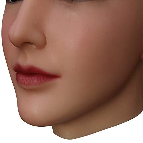 U-CHARMMORE Medical Silikon Beauty Beadpiece mit realistischem Kopf- und Gesichts-Make-up für Crossdresser Transvestite Halloween Drag Queen (Farbe 2 Nude)