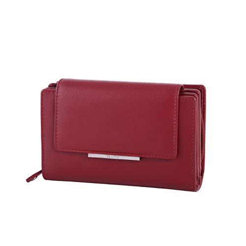 Rada Geldbörse für Damen | 14 Kreditkartenfächer | 6 extra Steckfächer | geteilstes Münzfach | Modisches Portemonnaie aus Kunstleder (rot)
