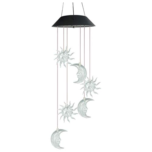 YARNOW Solar Wind Chimes Outdoor Star Moon LED Waterproof Mobile Romantic Crystal Hanging Patio Light Colorful Wind Spinner Lamp for Home Outdoor Garden Lighting Decor
