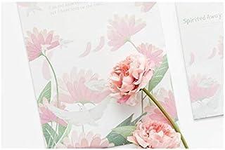 مظاريف ورقية - 9 قطع / مجموعة من 3 مظاريف + 6 أوراق ورقية جديدة قرطاسية هدية سلسلة مظروف (وردي)