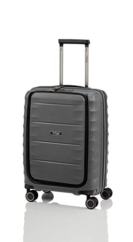 TITAN 4-Rad Bordtrolley mit Vortasche, Handgepäck erfüllt IATA-Bordgepäckmaß, Gepäck Serie HIGHLIGHT: Leichte Hartschalen Trolleys im Carbon Look, 842409-04, 55 cm, 42 Liter, anthracite (grau)