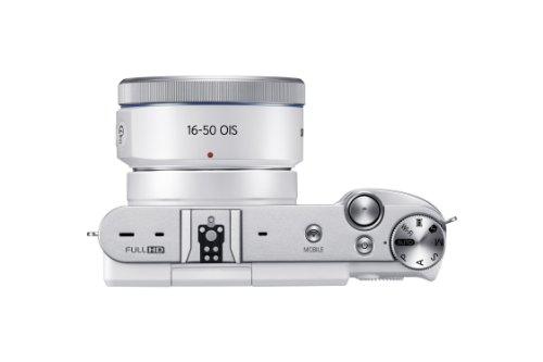 Samsung NX3000 Smart Systemkamera (20,3 Megapixel, 7,5 cm (3 Zoll) Display, Full HD Video, WiFi, NFC, Adobe Photoshop Lightroom 5, inkl. 16-50 mm OIS i-Function Power-Zoom-Objektiv) weiß