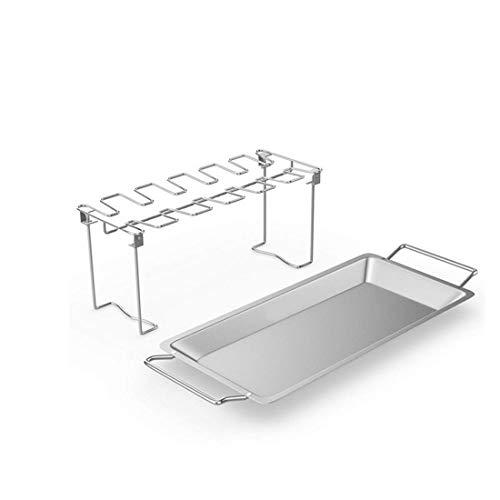 KYHS Faltbares Edelstahl-Grillset für den Außenbereich, Hähnchenbein-Gestell, Tablett, Haushalts-Backofen-Zubehör