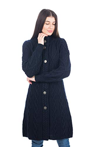 100% Merino Wool Aran Cable Long Knit Women Cardigan Coat with Celtic Knot Buttons (Navy, Medium)