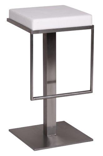 Wohnling Edelstahl Barhocker Durable M2, Edler Gastro Barstuhl Sitzfläche gepolstert, Exklusiver Design Tresenstuhl mit Fußstütze Standfest, Sitzhöhe 76 cm, weiß