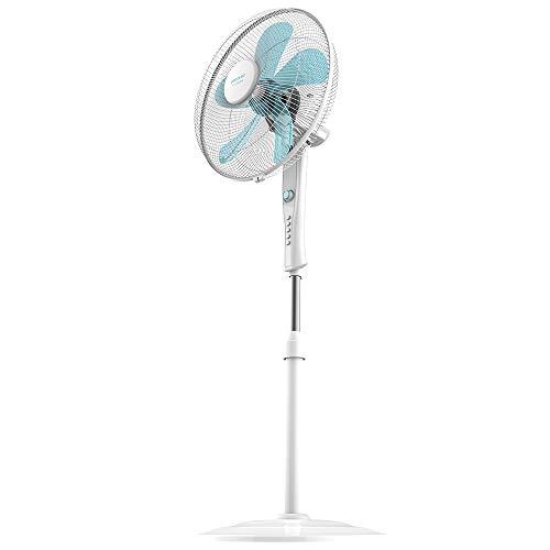 """Cecotec Ventilador de Pie EnergySilence 520 Power White, 50 W, 5 Aspas 16"""" (40 cm) de Diámetro, Oscilante, 4 Velocidades, Ajustable(110-135 cm), Motor de Cobre, Temporizador de 2h"""