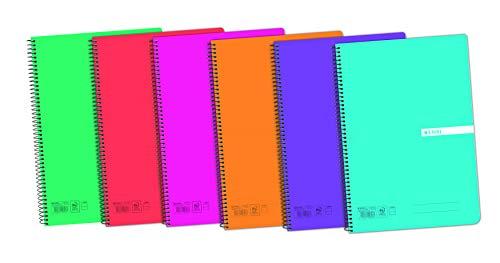 Cuadernos Folio(A4) Enri. Pack de 5 unidades. Tapa plástico. 80 Hojas cuadrícula Pauta 1 línea. Colores aleatorios