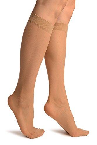 LissKiss Beige With Thin Chevron Stripes Socks Knee High - Beige Socken, Einheitsgroesse (37-42)