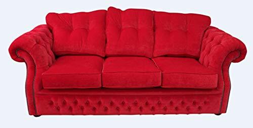 JVmoebel Tapicería de tela roja Chesterfield de 3 plazas, diseño de sofá