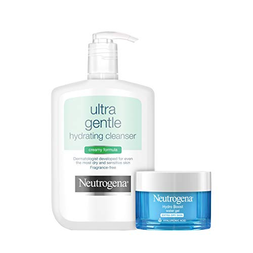 Neutrogena Ultra Gentle Hydrating Daily Facial Cleanser for Sensitive Skin, Face Wash, 12 fl. oz & Hydro Boost Hydrating Gel-Cream Face Moisturizer with Hyaluronic Acid, 1.7 oz