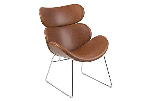AC Design Furniture Sessel Lena, B: 69 x T:78,5 x H: 90,5 cm, PU, Braun