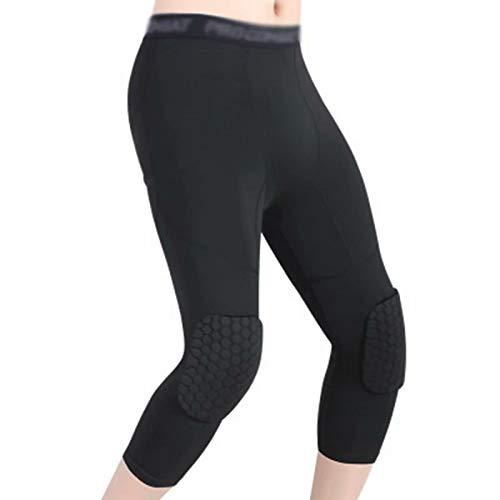 Doyime mallas medias deportivas Entrenamiento deportivo de baloncesto correr leggings cuesta abajo rodilleras pantalones de esquí de seguridad pantalones de skate gimnasio black L