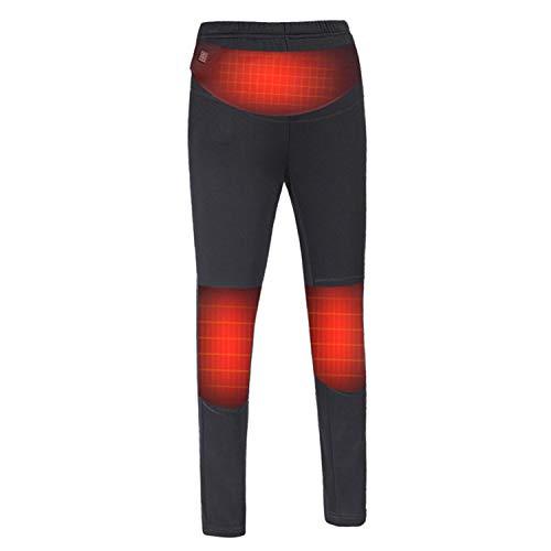 KINGWOLFOX Electric Heated Warm Pants Women USB Heating Base Layer Elastic Trousers (M) Black